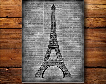 Eiffel Print, Vintage Decor,  Dictionary art BTW053