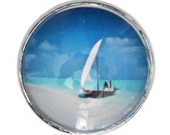Boat at Sea Glass Knob with Metal Base for Dresser Drawers, Cabinet Drawers, Kitchen Cabinets - W3