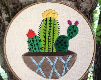 Cactus Dish embroidery hoop wall art