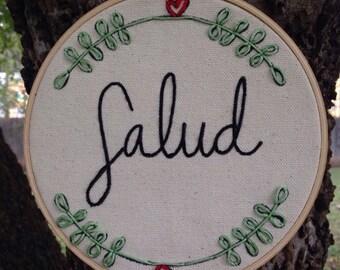 Cheers salud embroidery hoop wall art