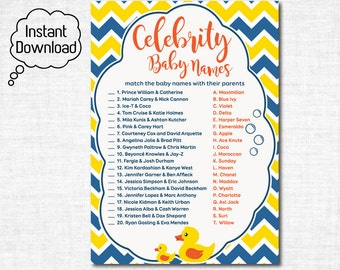 Rubber Ducky Celebrity Baby Shower Game, Duck Printable Celebrity Baby Name Match Game, Rubber Duck Baby Shower Game Printable- DUC2