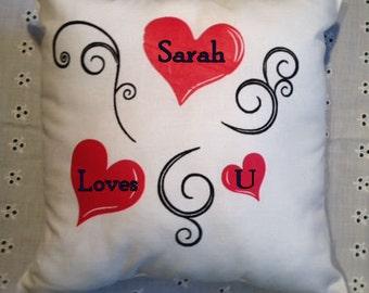 Gorgeous Personalised Valentines Cushion