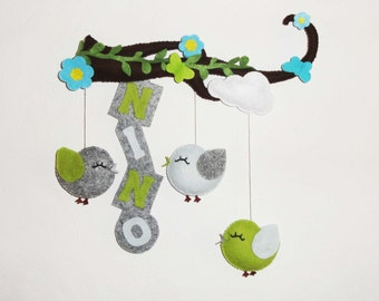 baby mobile or door name . baby crib mobile or room decoration . birds