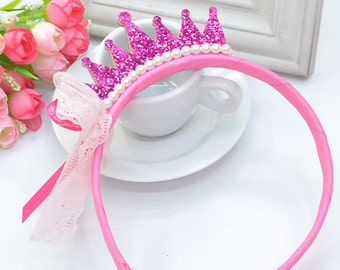 Princess Headband with Crown and Pearl
