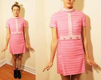 60s Vintage Bubblegum Pink Mock-Turtle Minidress