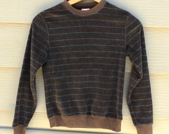Vintage brown velour striped longsleeved top - 1980 - size small