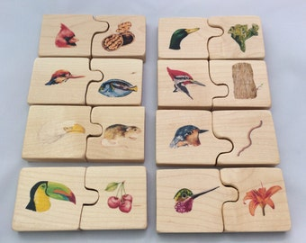 Montessori wooden puzzle, self-correcting bird puzzle, bird beak adaptations, bird beak and food puzzle, bird lover puzzle