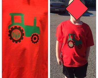 Little Boys Tractor Monogrammed Shirt