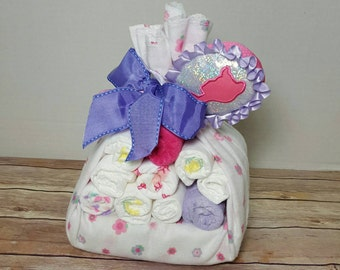 Stork bundle, princess stork bundle, baby bundle, baby shower gift, baby sprinkle, baby girl diaper gift