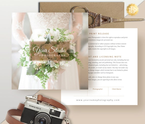 Print Release Template for Photographer, Print Release Photoshop Template, Digital Photo Marketing Template - INSTANT DOWNLOAD - PR001