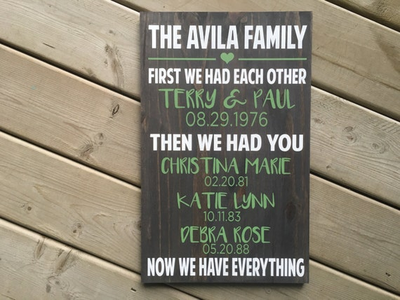 Family Sign - First we had Eachother - WOODSIGN - CUSTOM COLORS