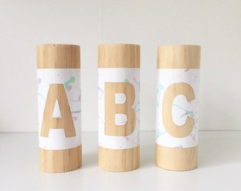 SPLATTER ABC Block Set, Alphabet Blocks, Wooden Letter Blocks, Baby Name Blocks, Custom Name Blocks, Nursery Decor Blocks, Letterpillar