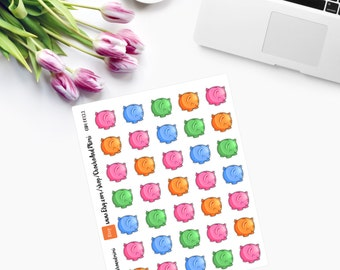 Small Kawaii Piggy Banks  Planner Stickers CAM00122