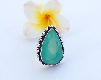Vintage Chalcedony Ring - Size 6 Ring - Sterling Silver Ring - Chalcedony Ring