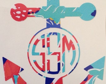 Anchor Decal - Yeti Decal - Lilly Pulitizer Decal - Lilly Pulitzer Anchor Decal - Big Little Sorority Decal