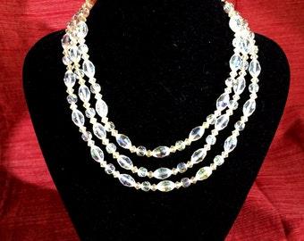 Vintage pearlescent 3 strand necklace