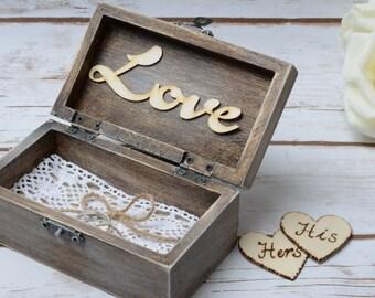 Rustikale Hochzeit Ring Box rustikal Moos personalisierte Träger personalisierte Zeichen Ringhalter seine und Ihre Hochzeit