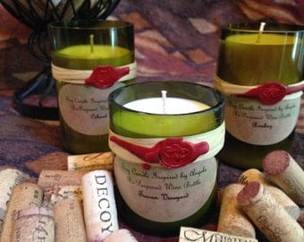 Soy Candle recycled Wine Bottles