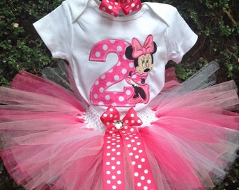 Hot Pink Minnie Mouse 2nd Birthday Outfit Onesie Tutu FREE Hair Bow Personalized