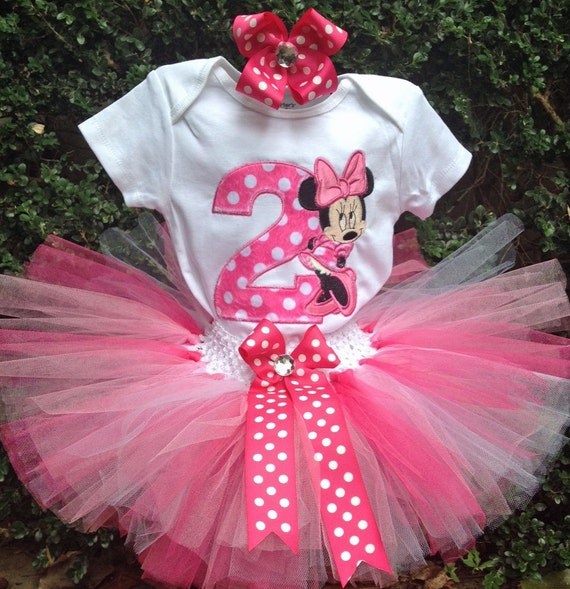 Hot Pink Minnie Mouse 2nd Birthday Outfit Onesie Tutu FREE