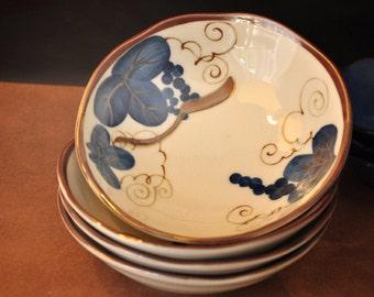 Japanese Dishes,SET of 4, rustic ceramics, indigo bowls, noodle bowls, rice bowls, handpainted, Summer Table