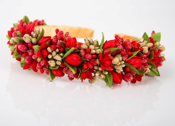 New red tulips headband / festival crown / lilies headpiece / red hairband / flower hair accessory / red wedding crown