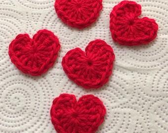 Crochet Heart Appliqués, Small Crochet Heart, Heart Appliqué, Heart Embellishments, Mini Hearts, Red Hearts.
