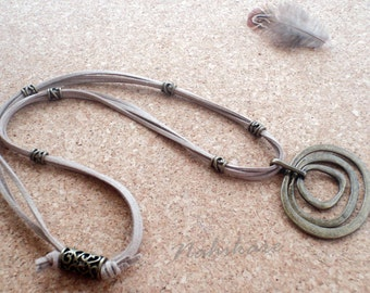 Boho Camel Necklace-Rustic pendant + arabesque tubes + double suede Caramel