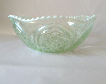 Frosted Glass Candy Dish, Patterned Panels and Scalloped Edge, Pale Green with Snow Trim