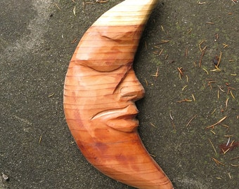 Moon Dude - American redwood (Sequoia) carving, wood carving, moon, bedroom