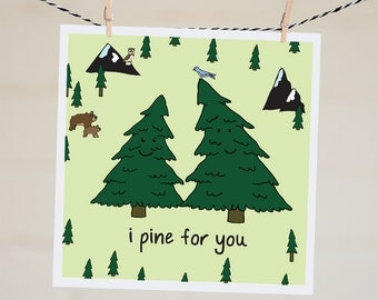 I Pine For You Card   Cute Valentine's Day Card For Boyfriend   Long Distance I Love You Card   Long Distance Couple Card For Girlfriend