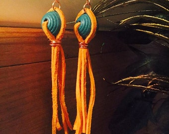 Earrings - Orange Suede Fringe, Copper and Turquoise Wooden Bead