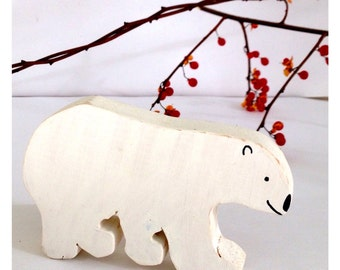 Wooden toy bear, wooden brown bear, wooden polar bear