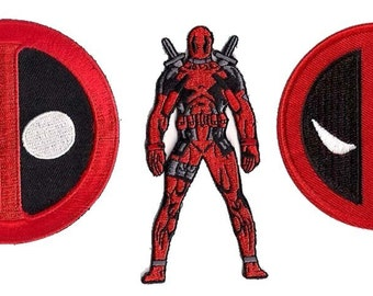 Deadpool Comic Book Embroidered Patch Set of 3 Patches