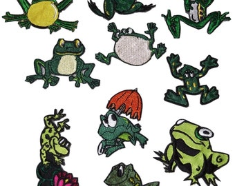 Whimsical Frogs Patch Set of 10