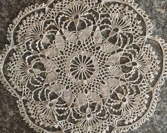 "Cream crochet doily, 13.5"" lace doily, symmetrical crochet home decor, 13-1/2 inch round mandala, ivory crochet decoration, 13 in doily"