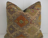 Designer Cushion Floor Cushion Cover Floor Knit Pillow Cover Home Decor Accessories Kilim Fabric Pillow  Turkish Rug Pillow  Bohemian Pillow