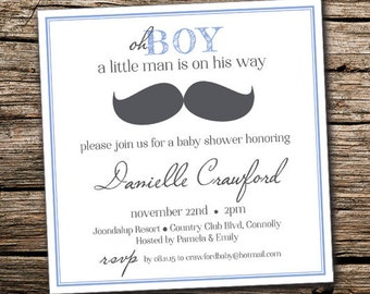 Oh Boy Baby Shower Invitation, Design + Print, Customizable, 148x148mm