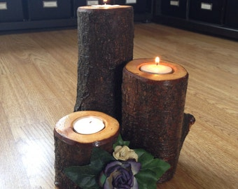 Wood candle centrepiece
