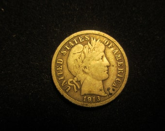 1913 Barber Dime 0.9000 Silver