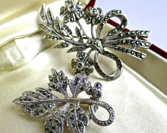 2 lovely vintage marcasite brooches