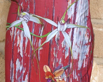 Pencil skirt, Longicordia & Yallingup Orchids on Red Painted Wood, native orchid clothing, digital photographic montage.