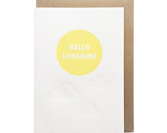 Birthday card, hello note card letterpress, handmade - Hello sunshine - FREE UK DELIVERY
