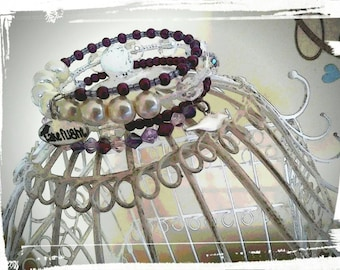 Crystal And Pearl Take Flight Bracelet (Purple and Pearl)