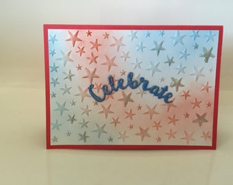 Birthday card, celebrate, Blank card, red white and blue card, patriotic card