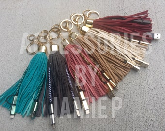 Extra Large tassel charger, iPhone and android tassel charger on keychain, luxury tassel keychain with built in mobile phone charger