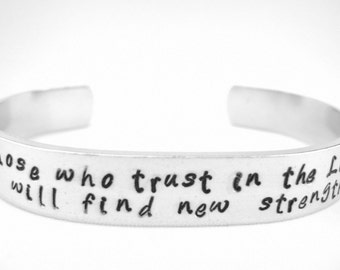 Bible verse bracelet, Isaiah 40:31 Those who trust in the Lord will find new strength scripture cuff, hand stamped Christian bracelet