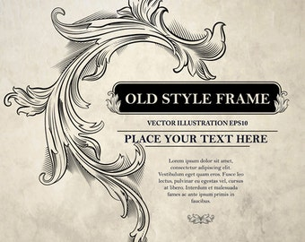 Digital Old style frame ornament vector