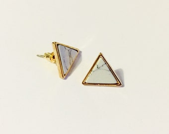 Triangle marble gold edge earrings