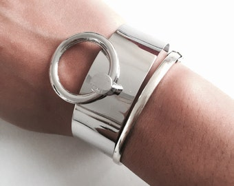 Industrial hoop ring / bracelet, silver statement ring, statement bangle